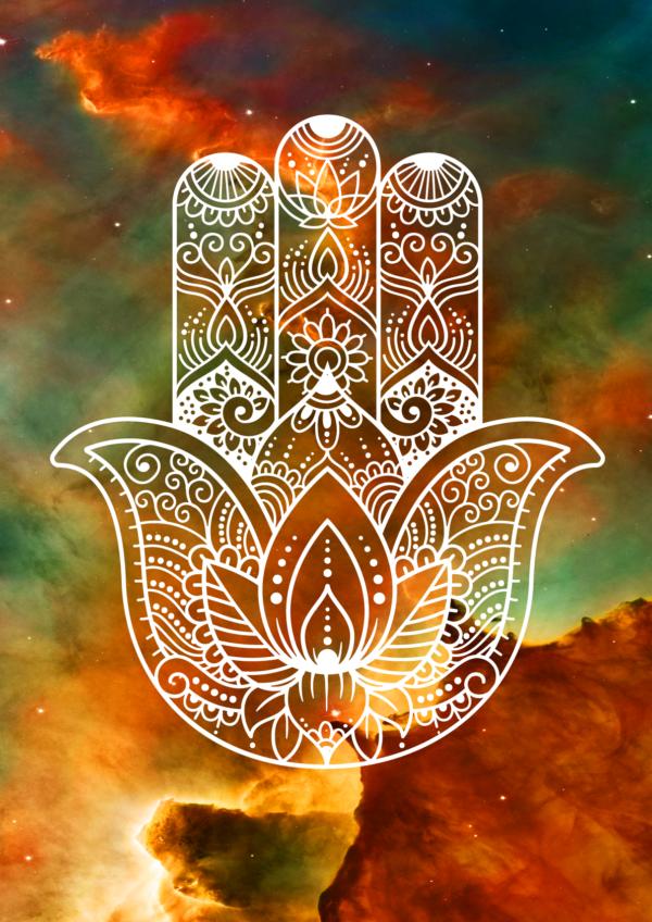 White Hamsa Hand - Nebula